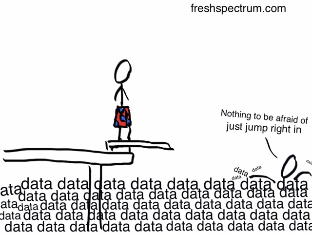 Fresh Spectrum cartoon featuring a person on a diving board looking into a sea of data