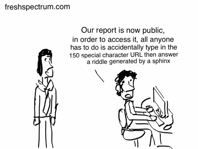 Fresh Spectrum cartoon where person at the computer says their data has been made public and you only need a to answer a riddle from a sphinx to reach it