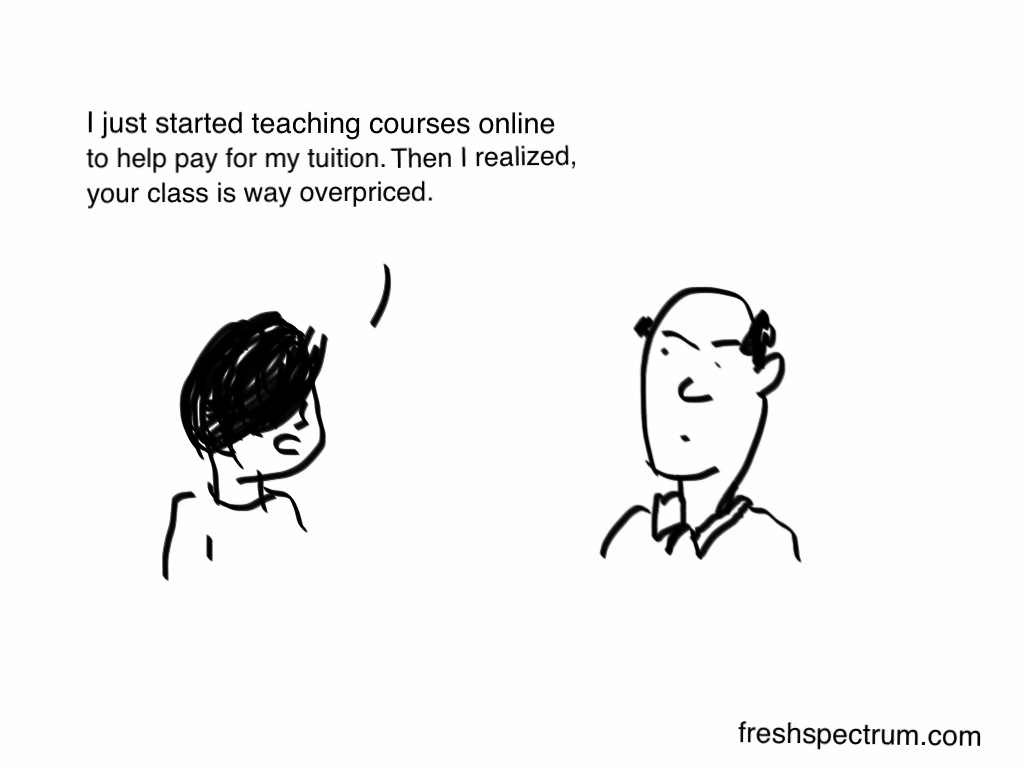 Fresh Spectrum cartoon showing a student talking to their professor saying how they started teaching courses online and now believe the professor's classes are overpriced