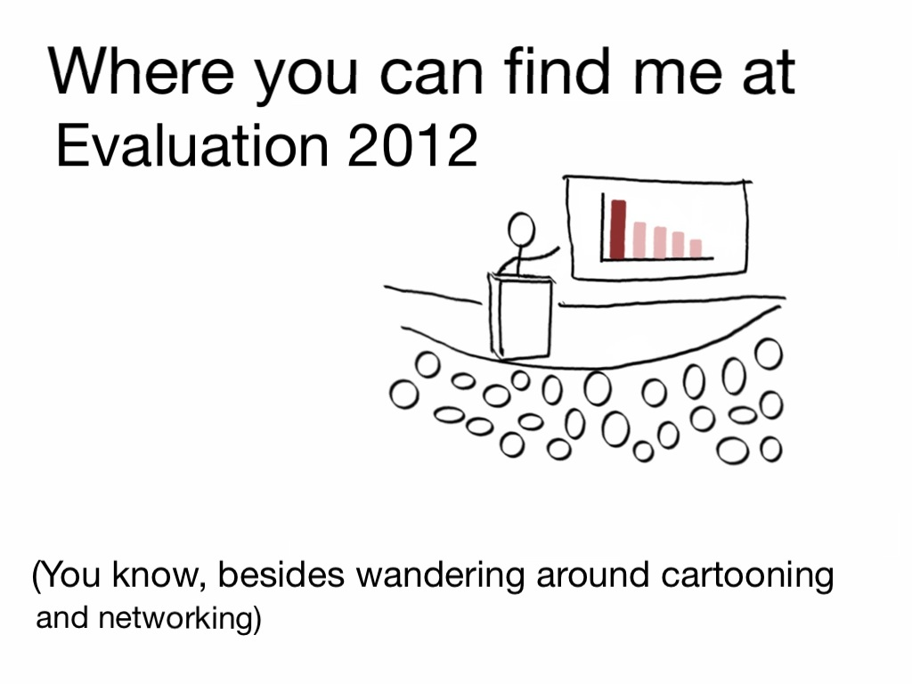 Where you can find me at Evaluation 2012