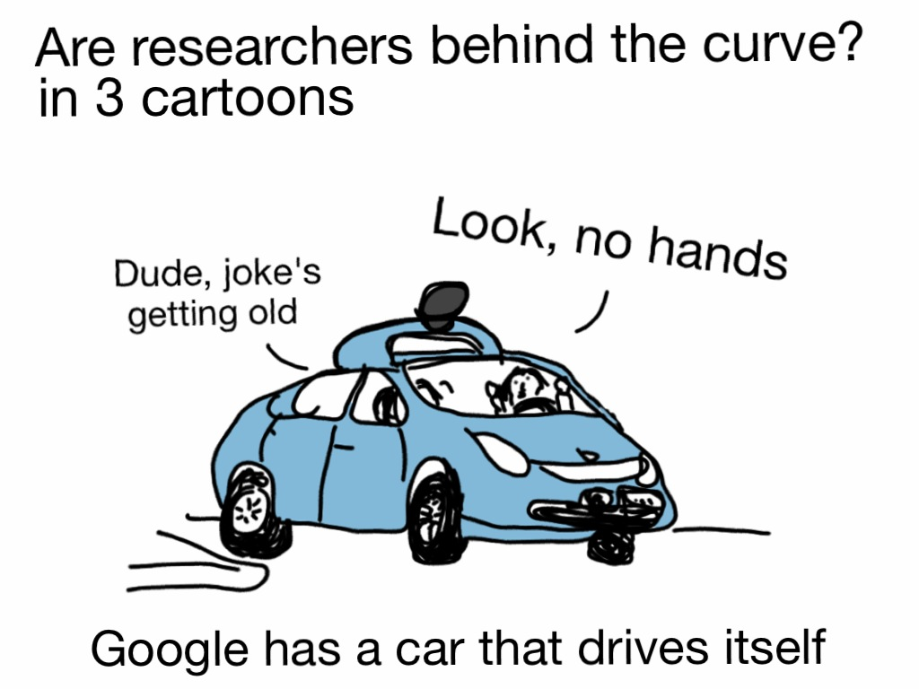 "Inside the Google car ""Look, no hands"" ""Dude, joke's getting old."""
