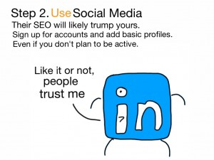 Use Social Media for their SEO. Sign up for accounts and add basic profiles.