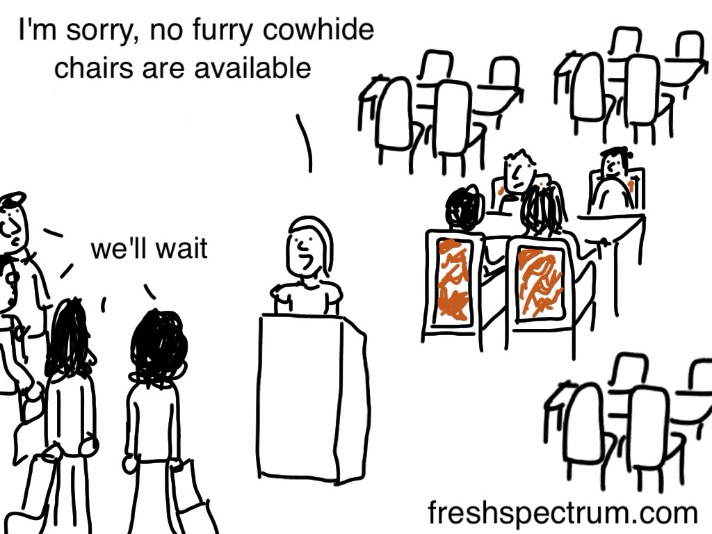 No furry cowhide chairs are available #eval12