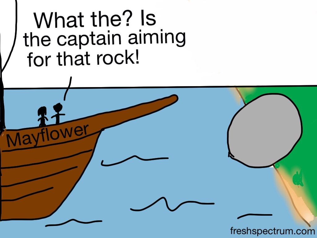 What the? Is the captain aiming for that rock!