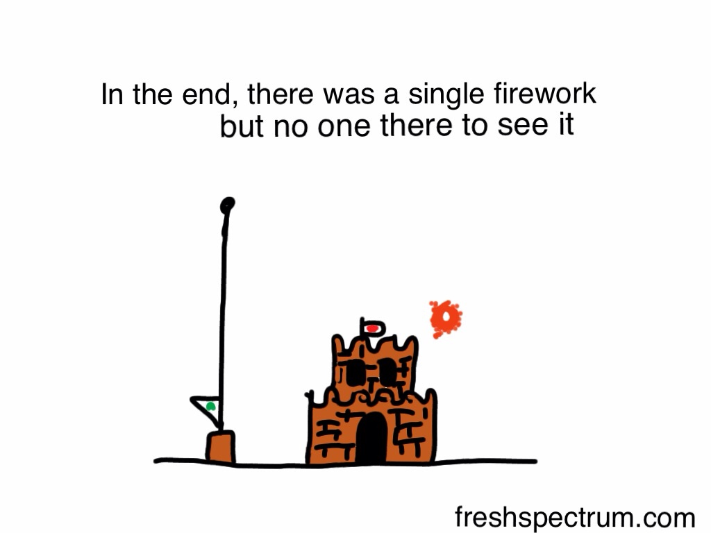 In the end, there was a single firework, but no one there to see it