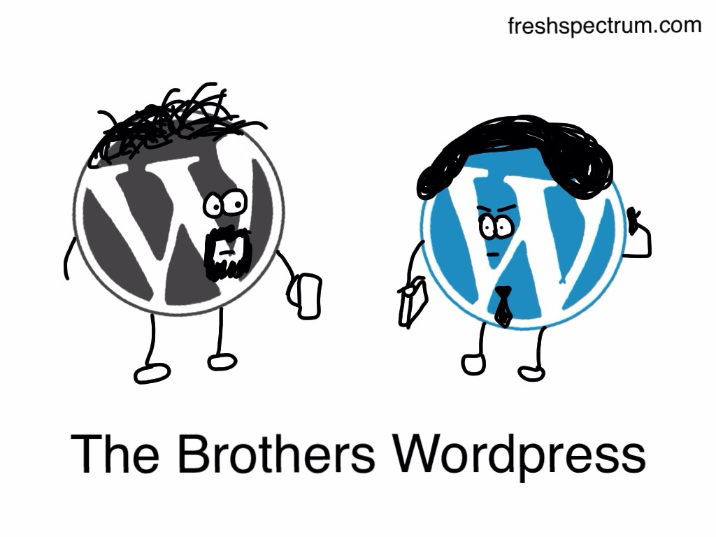 The Brothers WordPress: A cartoon depicting WordPress.org and WordPress.com