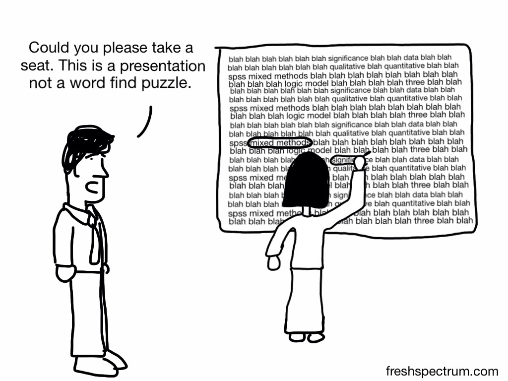 6 Common Presentation Mistakes Illustrated, Cartoon Collaboration with Stephanie Evergreen