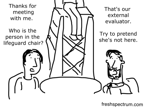 External Evaluator Cartoon by Chris Lysy