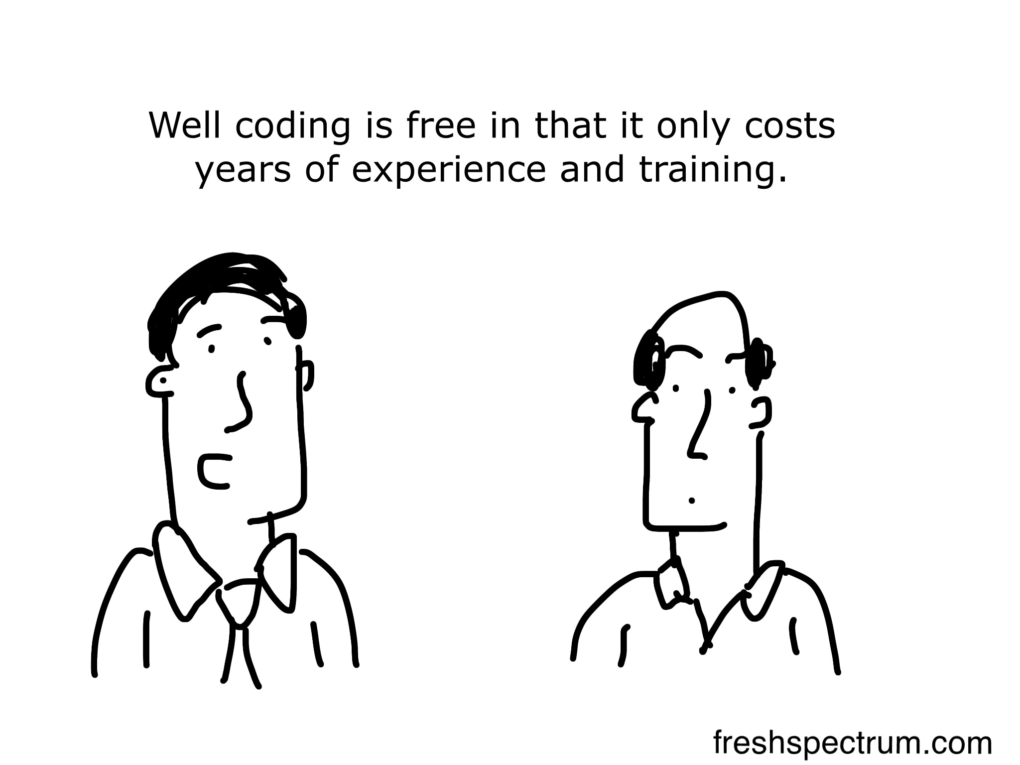 Well coding is free in that it only costs years of experience and training.