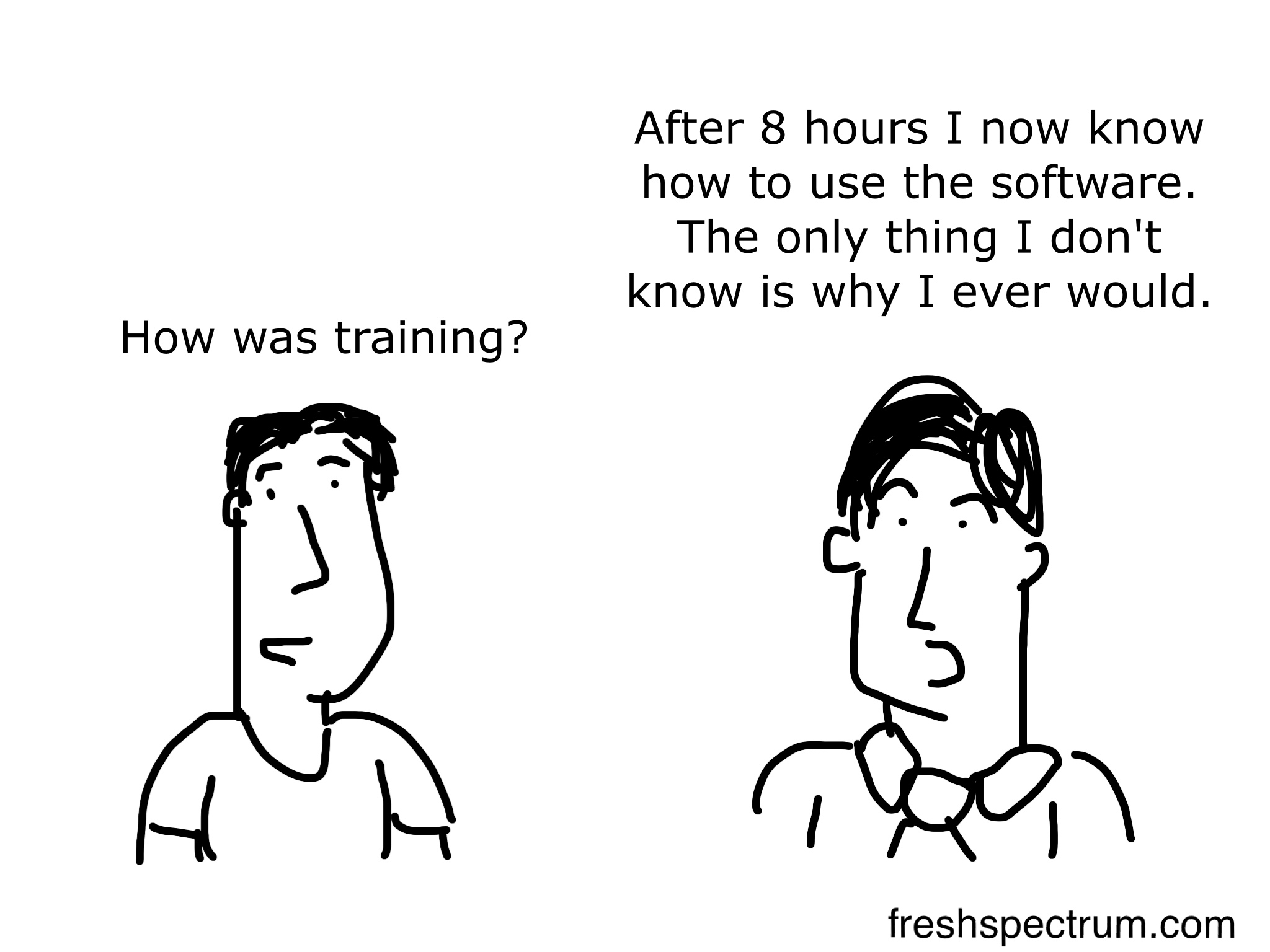 Training cartoon by Chris Lysy