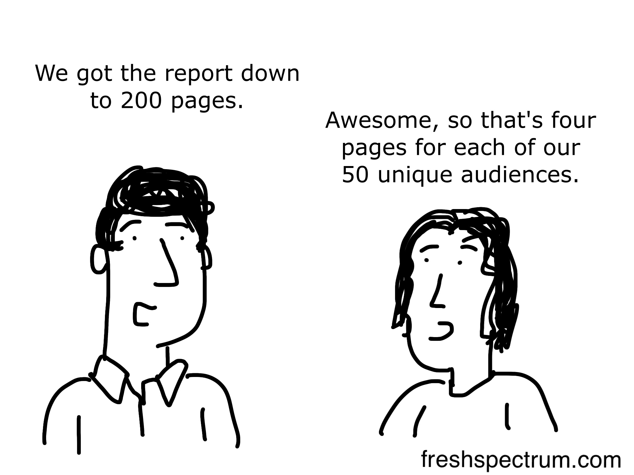 200 page report for 50 audience cartoon by Chris Lysy