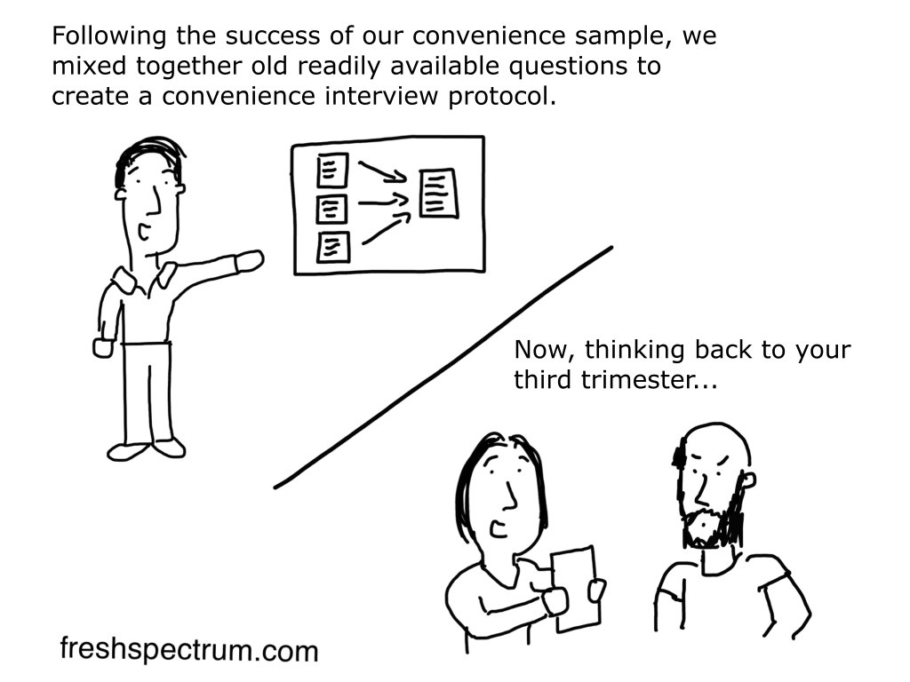 Convenience interview protocol cartoon by Chris Lysy