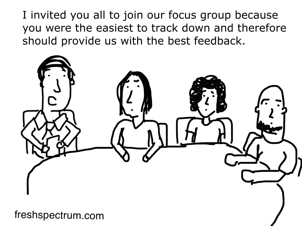Easy to find focus group cartoon by Chris Lysy