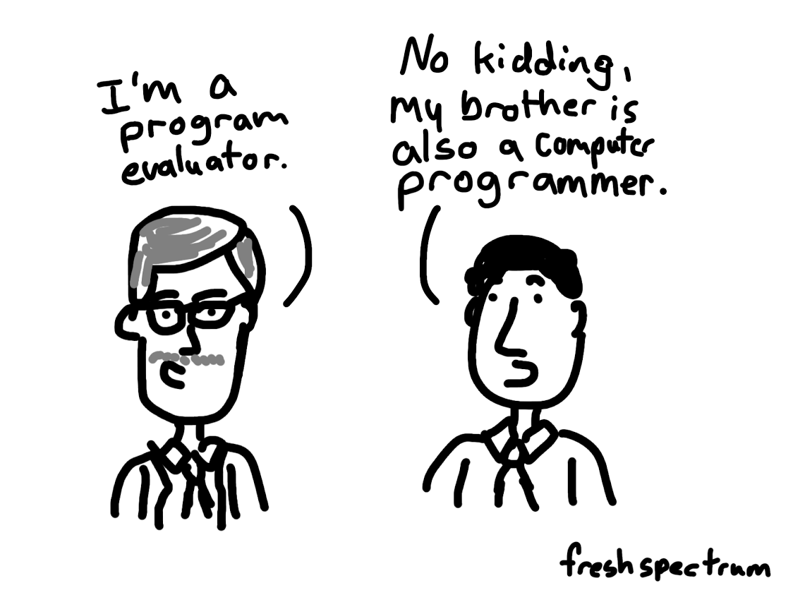 Cartoon-I'm a program evaluator...no kidding my brother is also a computer programmer