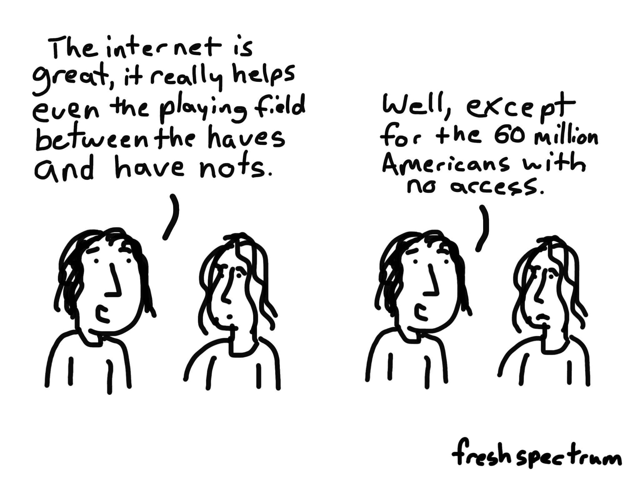 Cartoon: the internet is great, it really helps even the playing field between the haves and have nots...well except for the 60 million Americans with no access.