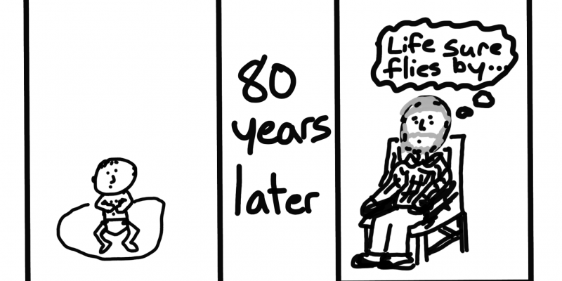 """Cartoon of a baby...80 years later...An old man thinks...""""Life sure flies by""""."""