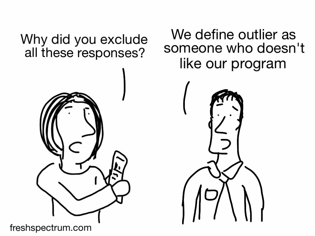 Cartoon - Why did you exclude all these responses? We define outlier as someone who doesn't like our program.