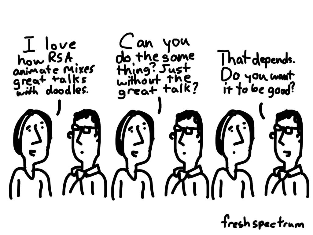 Freshspectrum cartoon- I love how RSA animate mixes great talks with doodles. Can you do the same thing? Just without the great talk? That depends, do you want it to be good.