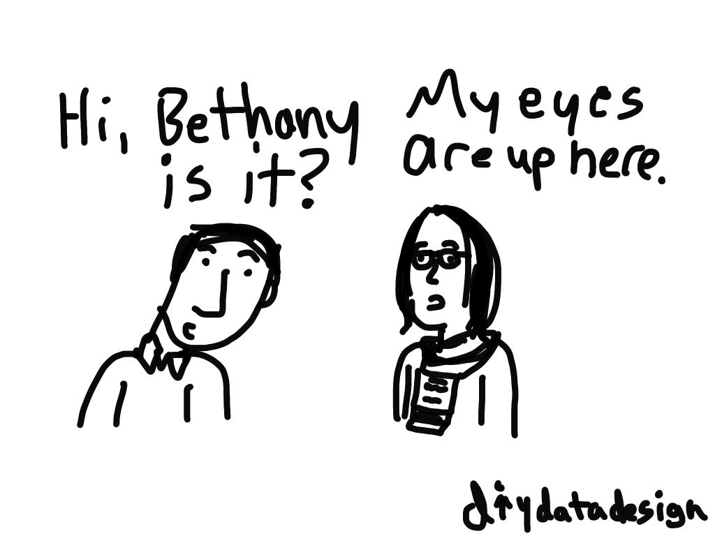My eyes are up here cartoon by Chris Lysy
