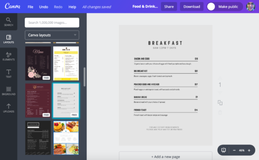 Example of a Canva Breakfast Menu