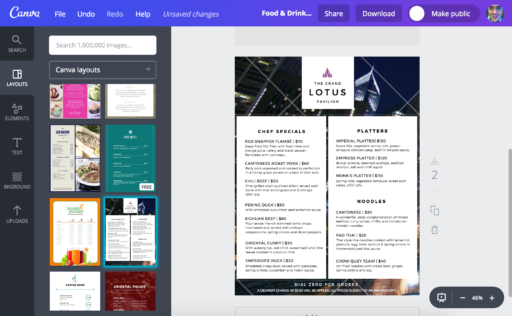 Example of a Canva Dinner Menu