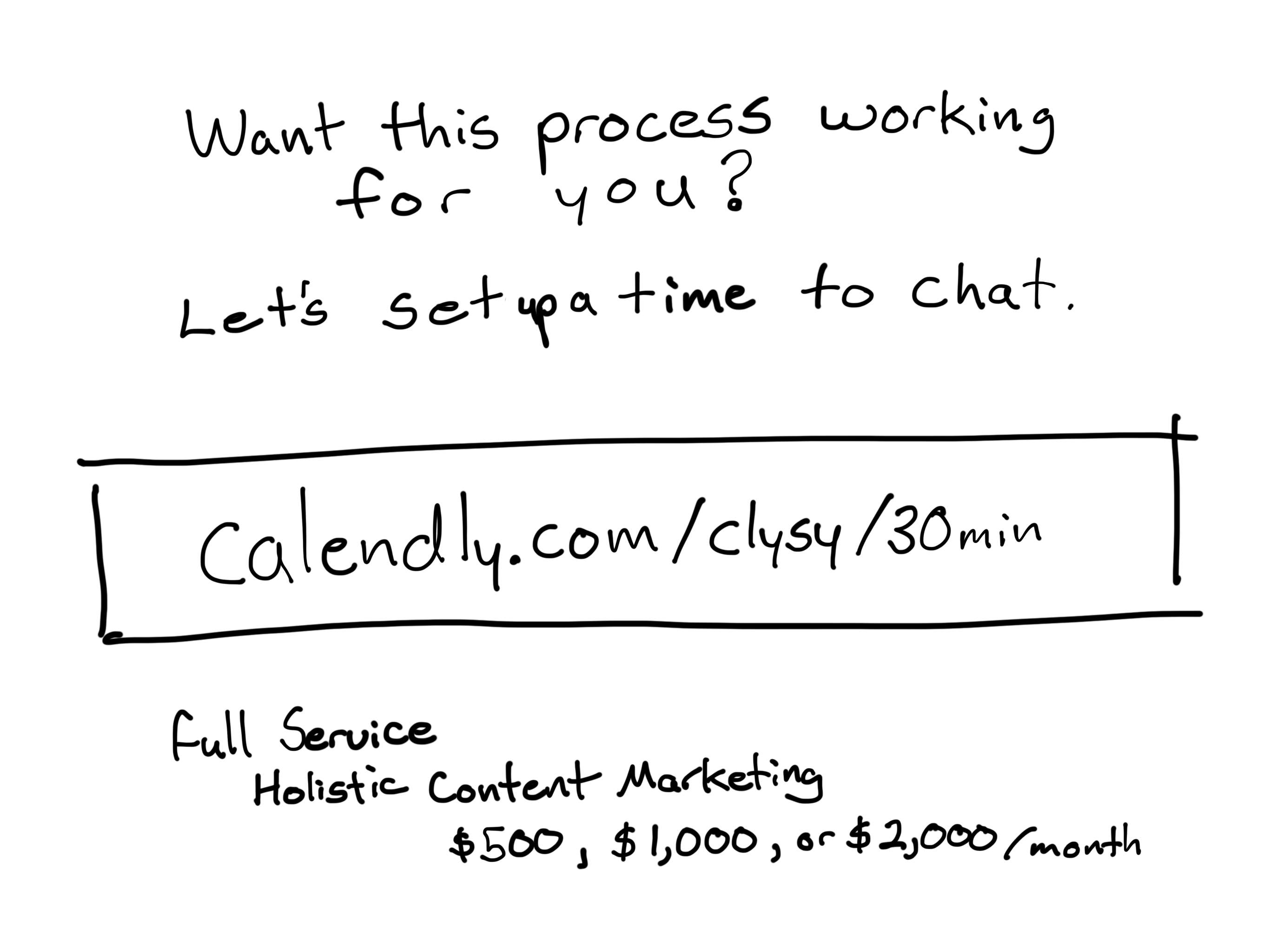 Want this process working for you? Let's setup a time to chat.