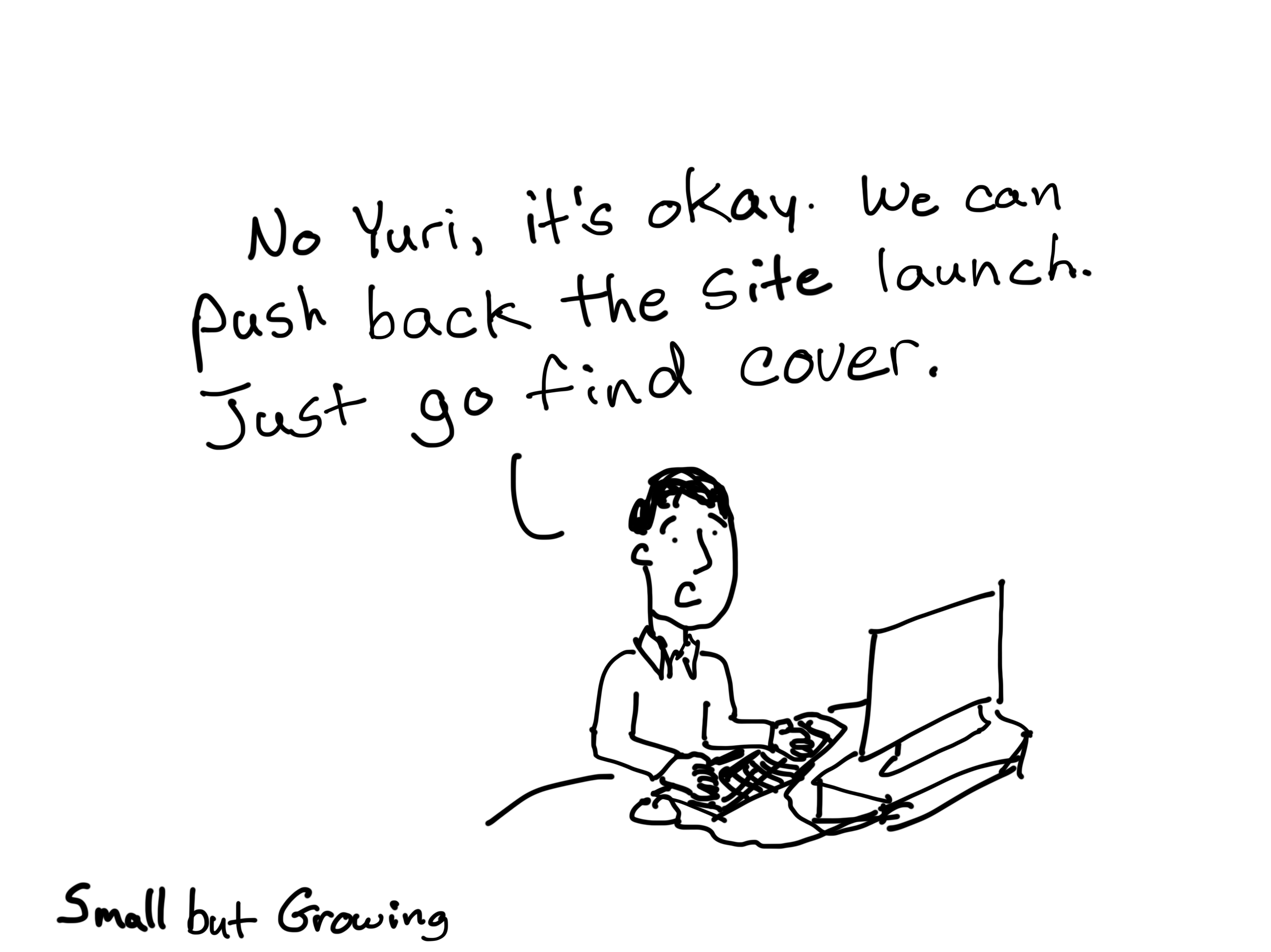 No hurt. It's okay. We can push back the site launch, just go find cover. Cartoon by Chris Lysy