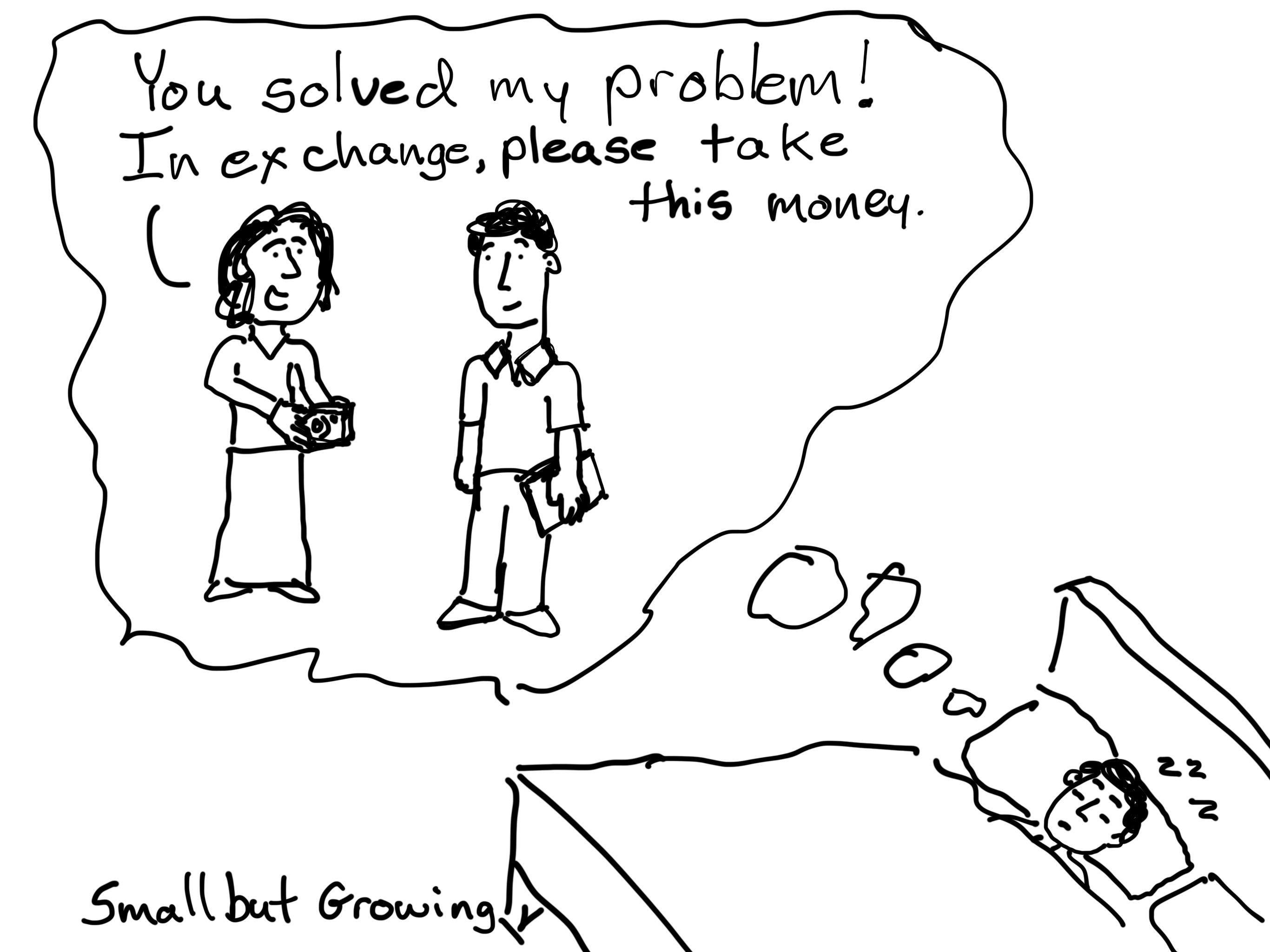 You solved my problem! In exchange please take this money. Cartoon by Chris Lysy