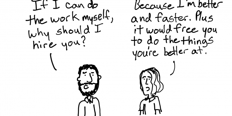Freshspectrum Better and Faster Freelancer Cartoon