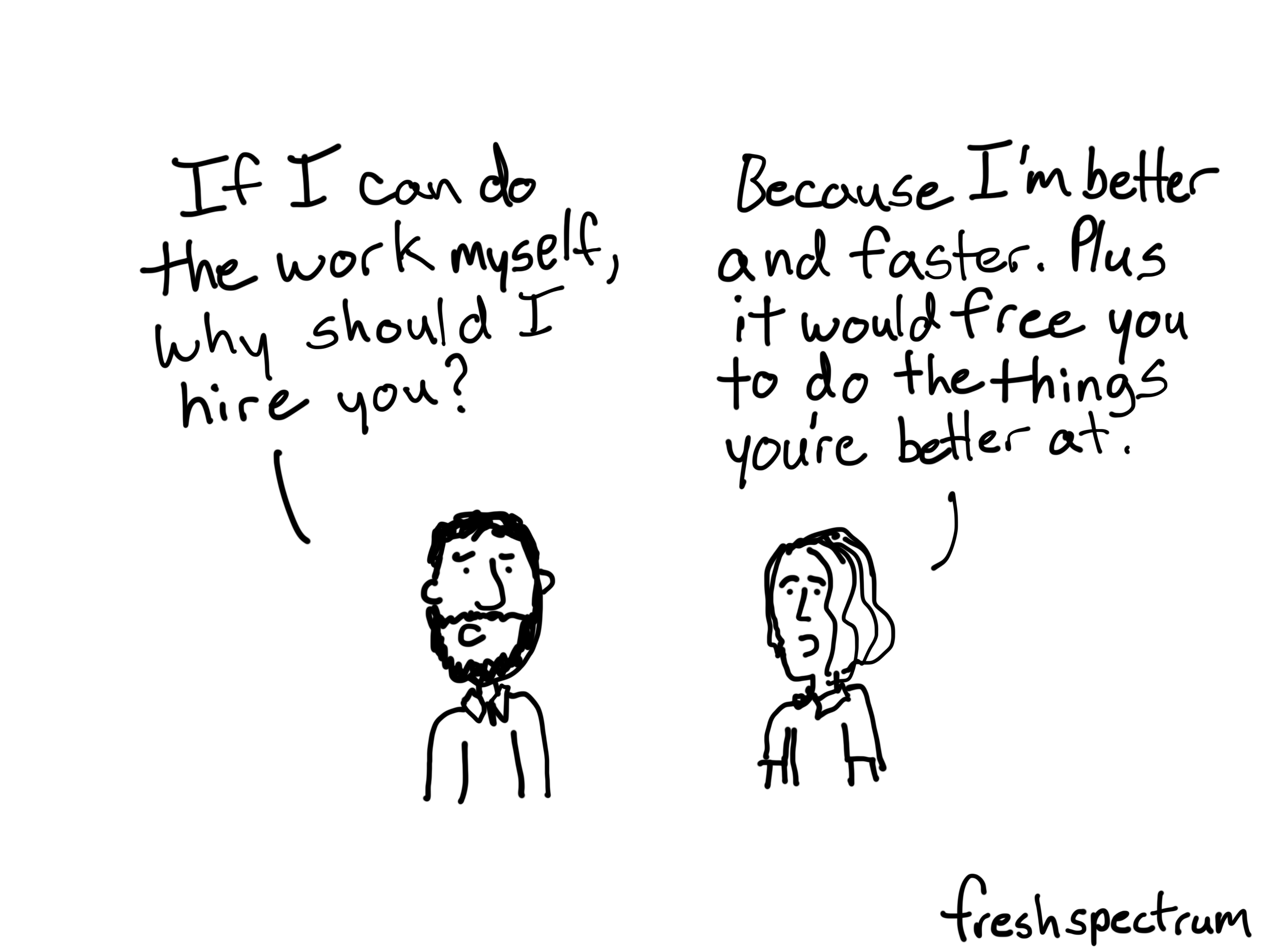Freshspectrum Better and Faster Freelancer Cartoon
