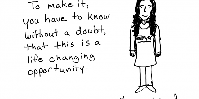 Freshspectrum cartoon with a quote from Monica Wood of Myxx