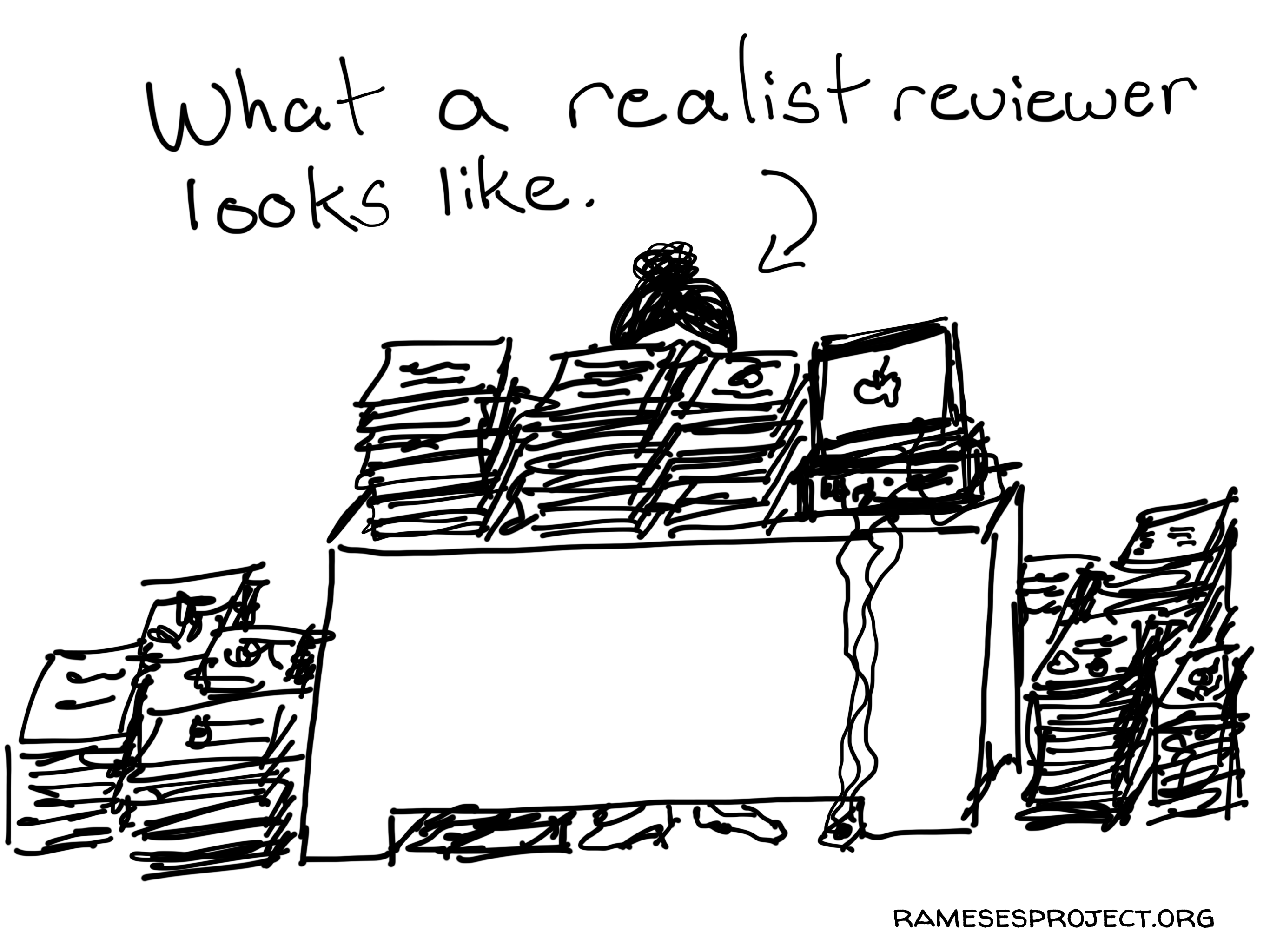 A realist evaluation cartoon by Chris Lysy.