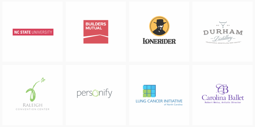 NC State University, Builders Mutual, Lonerider, Durham Distillery, Raleigh Convention Center, Personify, Lung Cancer Initiative of North Carolina, Carolina Ballet,