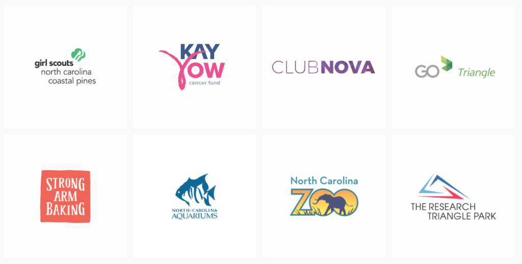 Girl Scouts North Carolina Coastal Planes, Key Yow Cancer Fund, Club Nova, Go Triangle, Strong Arm Baking, North Carolina Aquariums, North Carolina Zoo, The Research Triangle Park.
