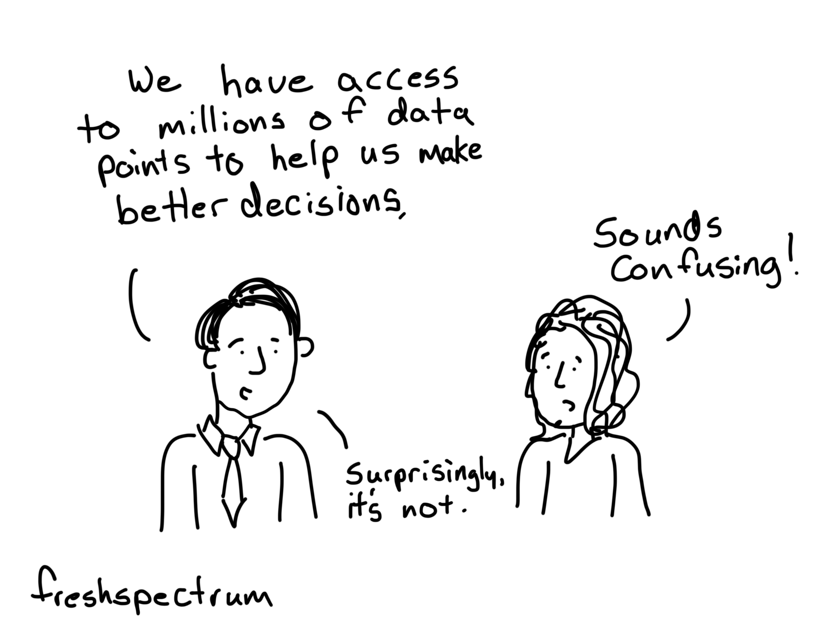 A cartoon about having big data access that is not confusing.