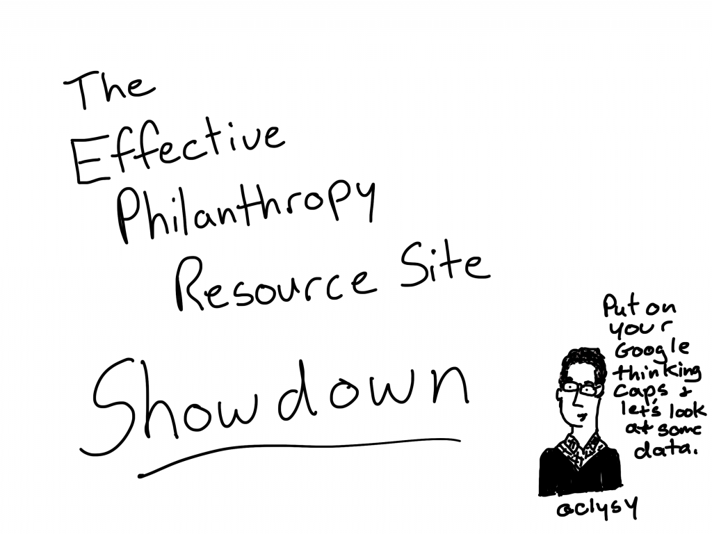 The effective philanthropy resource site showdown. Put on your google thinking caps and let's look at some data.
