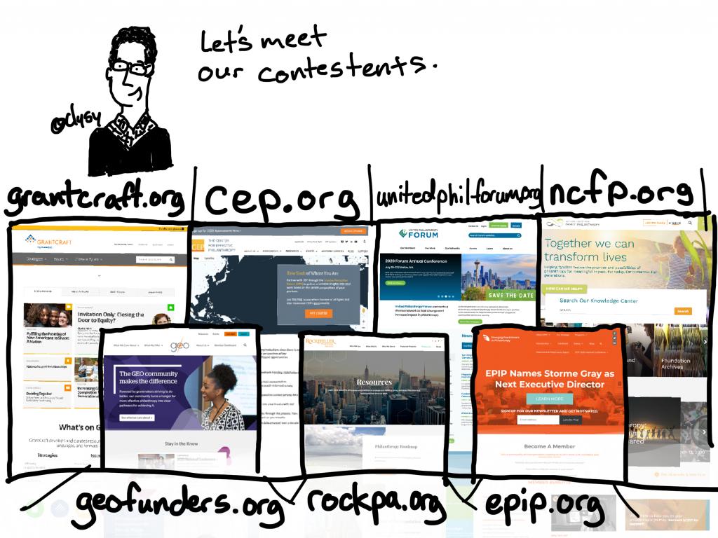 Let's meet our contestants. grantcraft.org, cep.org, unitedphilforum.org, ncfp.org, geofunders.org, rockpa.org, epip.org