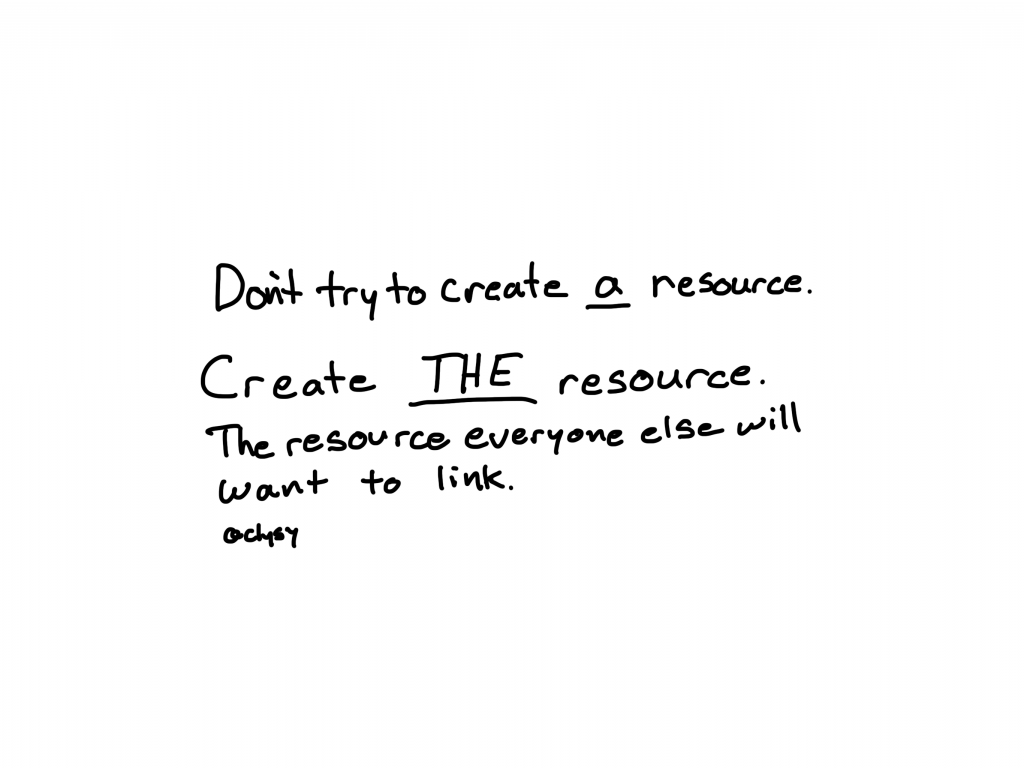 Don't try to create a resource.  Create THE resource.  The resource everyone else will want to link.