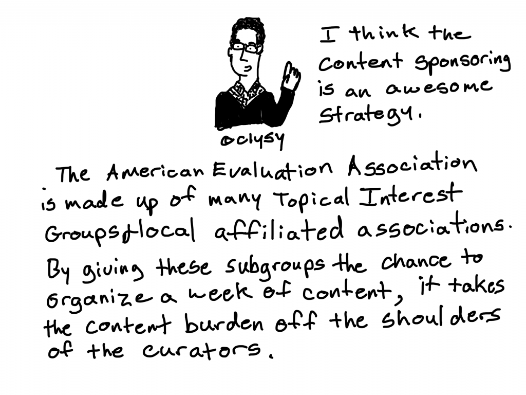 I think the content sponsoring is an awesome strategy. The American Evaluation Association is made up of many Topical Interest Groups and local affiliated associations. By giving these subgroups the chance to organize a week of content, it takes the content burden off the shoulders of the curators.