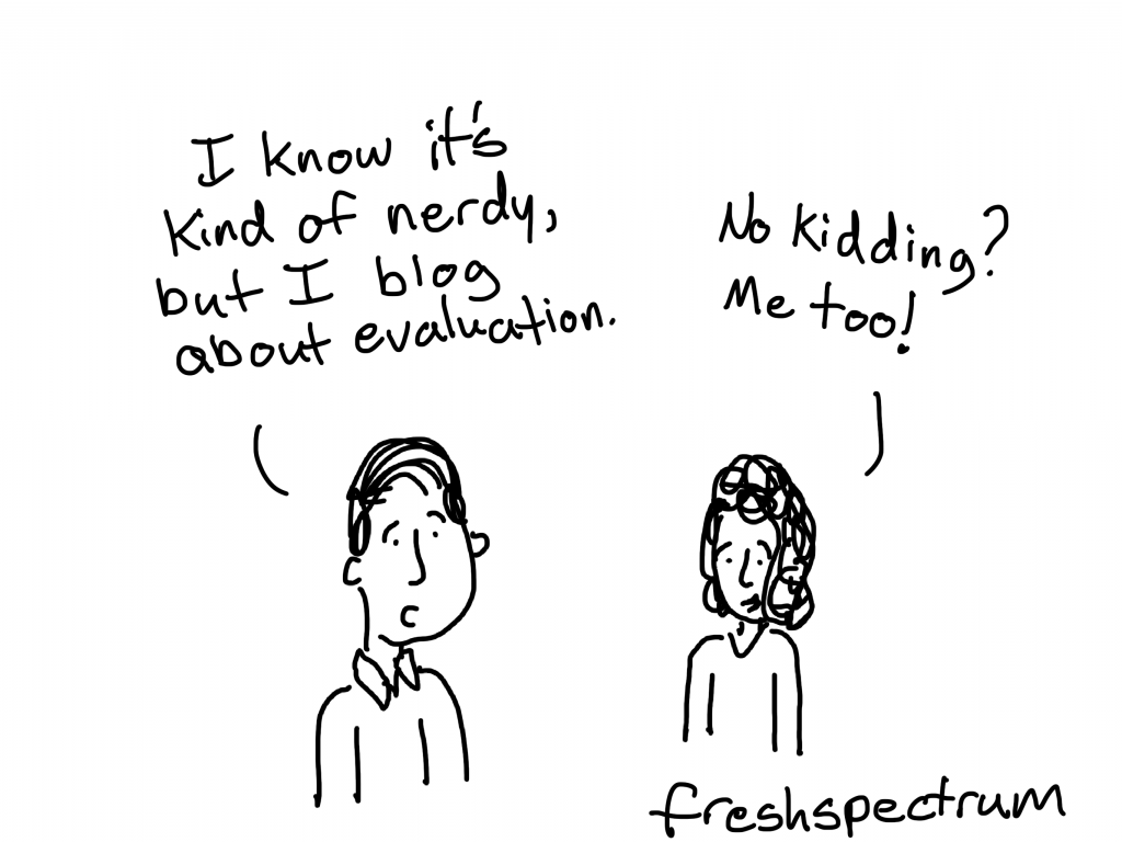 """freshspectrum cartoon by Chris Lysy """"I know it's kind of nerdy, but I blog about evaluation."""" """"No kidding? Me too!"""""""