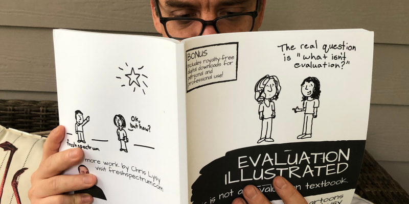 Chris Lysy reading his book Evaluation Illustrated