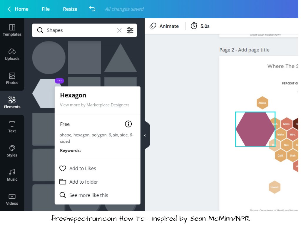 This is an image showing how to choose a hexagon element in Canva.