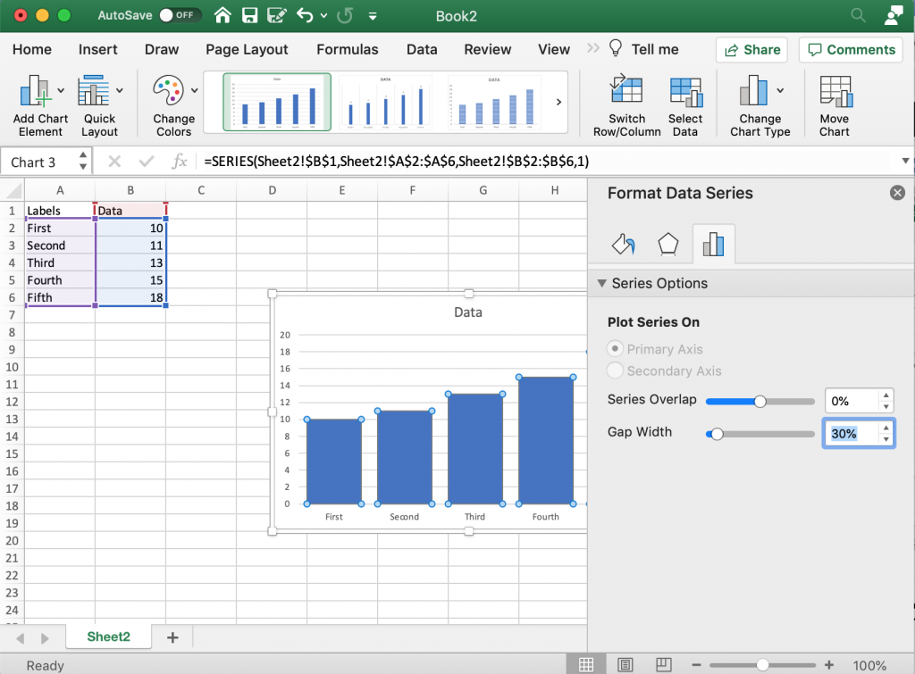 Making the Bars Bigger in Microsoft Excel