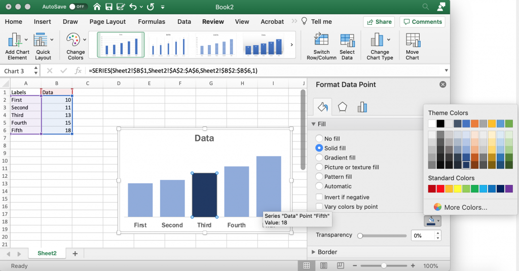 Setting a Highlight Color in Excel Bar Charts