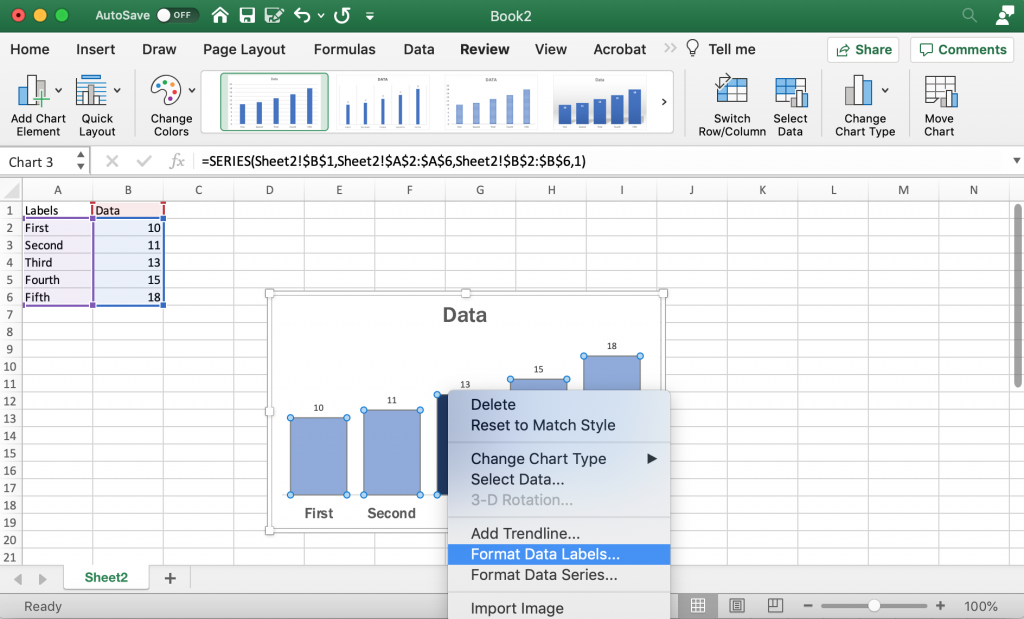 Adding and Formatting Data Labels in Excel
