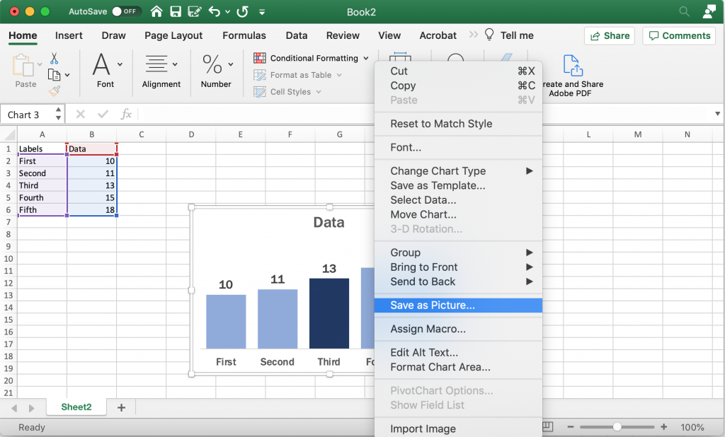Saving a Bar Chart as a Picture in Excel