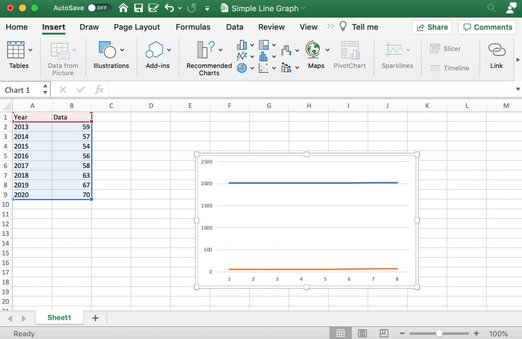 How to create a line graph in Excel - Labeling your graph