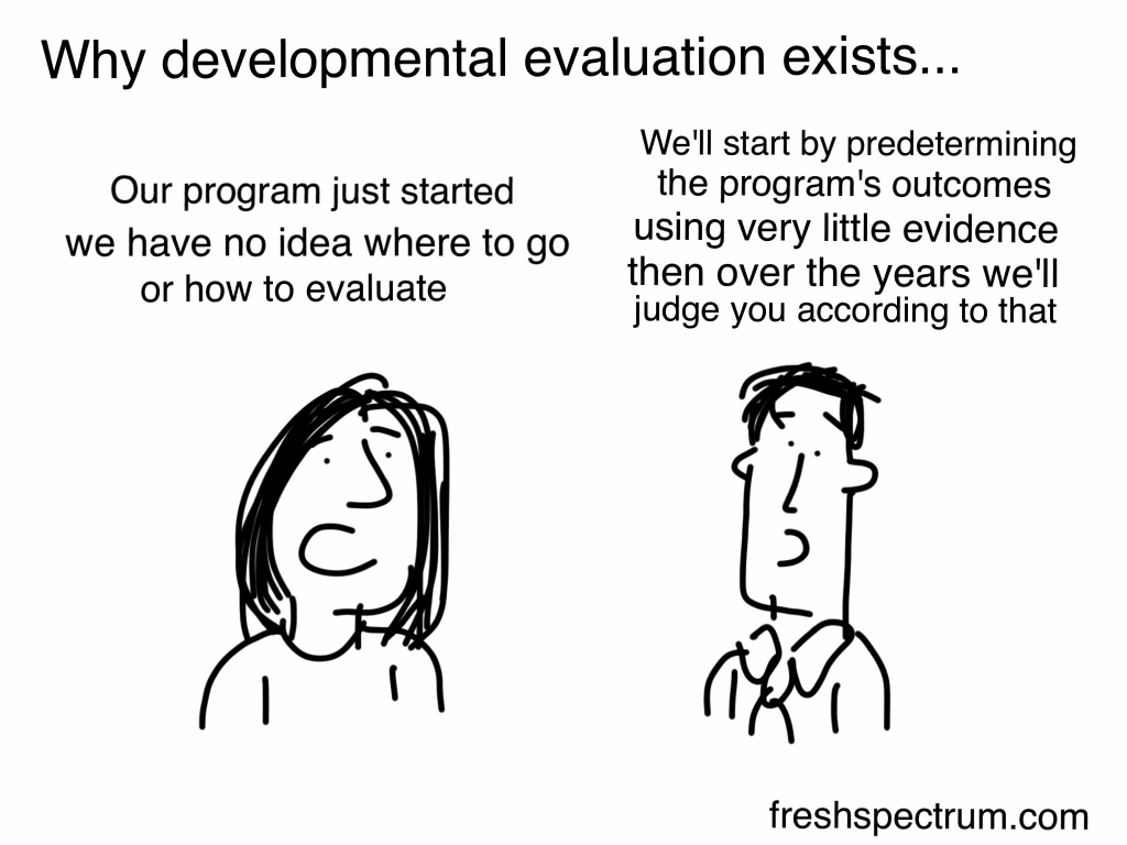 "What is Developmental Evaluation Cartoon by Chris Lysy of Freshspectrum.    Why developmental evaluation exists...  ""Our program just started we have no idea where to go or how to evaluate.  We'll start by predetermining the program's outcomes using very little evidence then over the years we'll judge you according to that."""