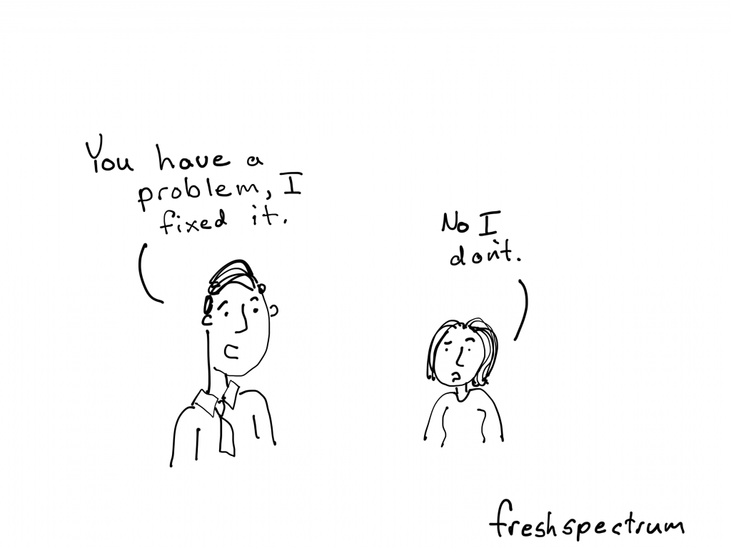 "Needs Assessment Cartoon by Chris Lysy for freshspectrum.  ""You have a problem, I fixed it.  No I don't."""