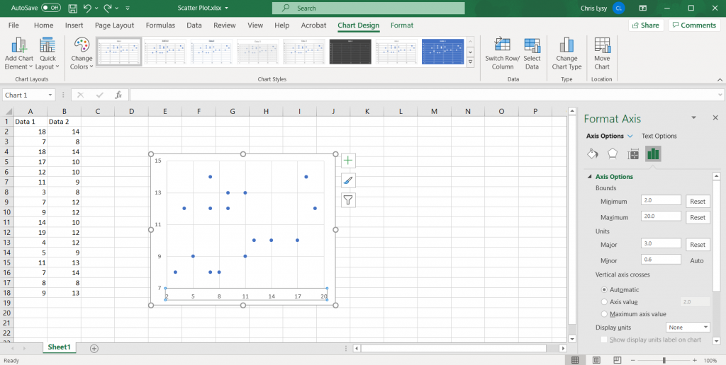 How to Create Scatter Plots in Excel - Setting Major Units Illustration